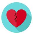 Broken Heart Circle Icon with long Shadow vector image