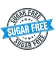 sugar free blue round grunge vintage ribbon stamp vector image