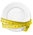 Crossed spoon and fork plate Diet metr 01 vector image