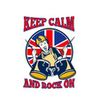 Keep Calm Rock On British Flag Queen Granny Drums vector image vector image