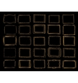 A set of hand drawn gold frames vector image