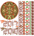 aztec calendar with ornaments vector image