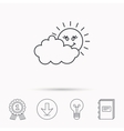 Cloudy day with sun icon Overcast weather sign vector image