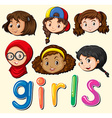Girls with happy face vector image