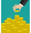 Hand put coin to money staircase vector image