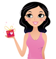 Happy Girl holding gift box isolated on white vector image