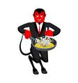 Satan roasts sinners in pan Skeletons in boiling vector image