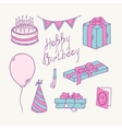 Doodle birthday item collection vector image