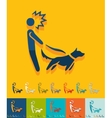 Flat design walking the dog vector image