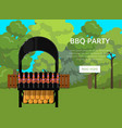 bbq party poster with meats on barbecue vector image