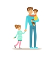 Dad With Son And Daughter Loving Father Enjoying vector image