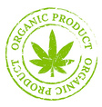Green organic cannabis marijuana stamp vector image
