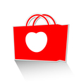 Heart with shopping bag icon vector image