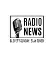 radio news logo with microphone isolated vector image
