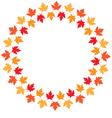 round frame from maple autumn leaves vector image