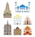 Set cities in middle famous buildings travel vector image