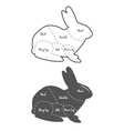 Vintage diagram guide for rabbit cutting vector image