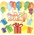 Happy birthday balloons presents vector image