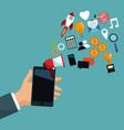 hand holding mobile digital marketing vector image vector image
