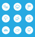 meteorology outlines set collection of rainbow vector image
