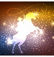cowboy on horse with lights background vector image