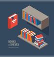 book shelves isometric vector image