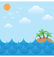 island in sea wavessunsky and cloud vector image