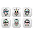 Mexican sugar skull Dia de los Muertos buttons se vector image