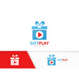 button play and gift logo combination vector image