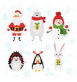 christmas and new year characters vector image