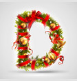 christmas font letter d of christmas tree vector image