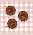 coffee cups realistic three mugs on a vector image