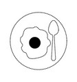 fried egg with spoon on dish in black dotted vector image