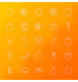 Fruit and Vegetable Line Icons Set over Blurred vector image