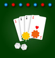 playing card chips and dice on a green background vector image
