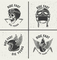 ride fast die young racer helmets wheel with wings vector image