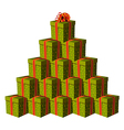 Gift boxes forming a Christmas tree vector image vector image