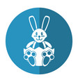 easter bunny with broken egg shadow vector image