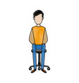 young relaxed sitting in an office chair vector image