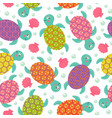 seamless pattern with turtle vector image