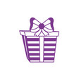 silhouette present gift with ribbon bow decoration vector image