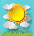 sun and cloud over glass vector image vector image