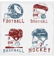 vintage sport grunge labels set with skulls vector image