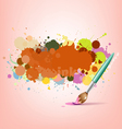 Abstract colorful ink with brush background vector image