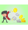 Businessman Attracts Money Coin Gold Silver vector image