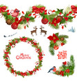 christmas collection of floral patterns and vector image