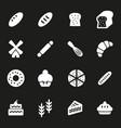 white bakery icons set vector image