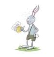 bunny drinking beer cartoon eps 10 vector image