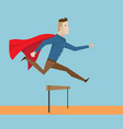 businessman with red cape running and jumping vector image