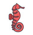 sea horse flat line  concept vector image